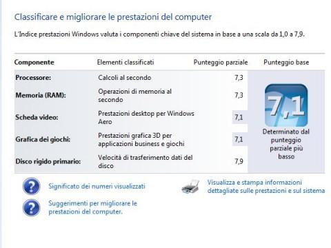 Punteggio Windows 7